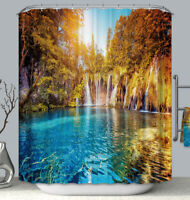 Waterfall Lake Fabric SHOWER CURTAIN Tropical Oasis 70x70 w/Hooks