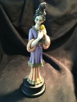 A.Giannelli Japanese Geiko Hand Coloured Bonded Alabaster Figurine