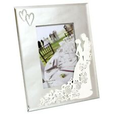 "WEDDING MIRROR PHOTO FRAME WHITE COUPLE SILHOUETTE DESIGN 5""X 7"" PHOTO"