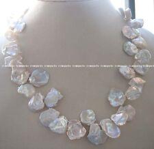"freshwater pearl white reborn keshi necklace 17"" wholesale beads nature"
