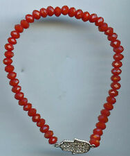 925 Sterling Silver, Faceted Red Jade & Pave CZ Hamsa Stretch Bracelet