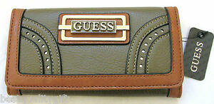 NEW-GUESS MADERA BLACK+TAUPE,BROWN+MULTI COLOR LEATHERETTE WALLET CLUTCH