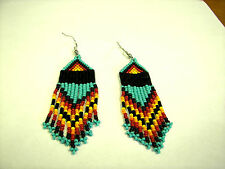 "Seed  Bead  Earrings NEW Navaho style  Handmade 3 1/2 x 1""  wow"
