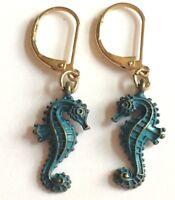 Gold Patina Seahorse Earrings Sea Life Green Nautical Island Beach Plated USA