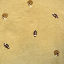 1 Yard Vintage Novelty Pinwale Corduroy Fabric Tan Football