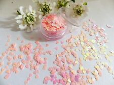 Nail Art Chunky *Heart* Shiny Pale Pink Holographic Shape Glitter Spangle Pot V5