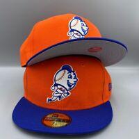 New York Mets Mr. Met New Era 59FIFTY Orange & Royal Blue Hat Gray Bottom