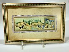 """ANTIQUE PERSIAN MINIATURE HAND-PAINTED PAINTING ON CAMEL BONE """"WATER HOLE"""""""