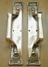 "Pair Of Antique Pull Door Handles Solid Brass Vintage Restored 12 1/2"""
