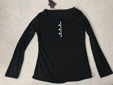 New Fashion Womens Black Long Sleeve Henley Shirt Sz S/M Asian Sz xl NWT