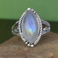 natural Rainbow moonstone gemstone Ring Size 9 US 6.04 g 925 Sterling Silver