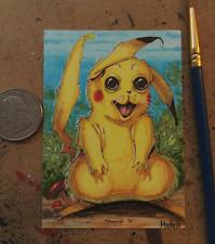 """Pikachu inspired Sketch Card 2.5""""x3.5"""" - Original Art by Kenneth Hutcheson Hutch"""
