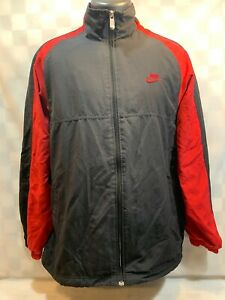 NIKE Brand Black Red Bred Zip Front Athletic Jacket Men's Size L