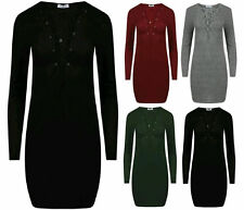 Patternless Long Sleeve Stretch, Bodycon Dresses for Women