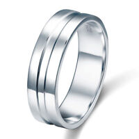 High Polished Plain Men's Solid Sterling 925 Silver Wedding Band Ring