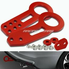 RED CNC BILLET ALUMINUM ANODIZED FRONT+REAR RACING TOWING HOOK KIT UNIVERSAL