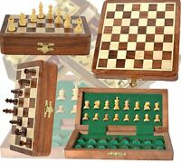 18 cm Wood Magnetic Chess Set with Staunton Chess Pieces  Folding Game Board
