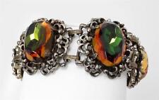 STUNNING Vtg Watermelon Glass HUGE Oval Stones Bracelet Unsigned Selro Selini