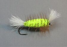 Salmon and Trout Bomber - Fl. Yellow Body - Brown Hackle - White Wings - Size 4