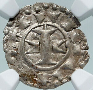 1100-1300 FRANCE Melgueil Maguelonne OLD Silver Denier Medieval Coin NGC i87150