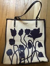 Kate Spade Purple Poppy Flowers Canvas Tote Shoulder Bag Summer Leather Purple
