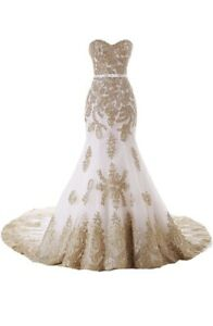 Mermaid Long Tulle Gold Lace Corset Wedding Dresses With Sash Ivory 18w