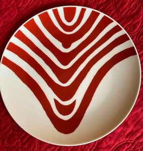 3 X Louise Bourgeois Third Drawer Down Red Curves Bone China Dinner Plates WOW!