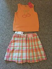 BNWT Gymboree Orange Vest Top And Check Red White Green Skirt Skort Shorts Age 6