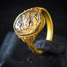 Ancient Crystal Intaglio 2 Wizards Chatting Signet Solid 22K Gold Weaving Ring
