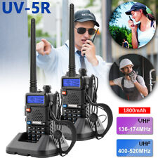 2*Baofeng UV-5R 5w Dual Band UHF VHF Walkie Talkie FM 2-Way Radio + Battery