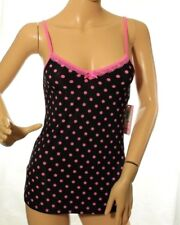 Jenni Women's Tank Top Black Lace Trim Polka Dot Camisole Sleep Size XS