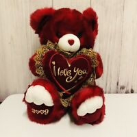Dan Dee Red Bear Plush 2009 I Love You Heart Pillow Stuffed Animal