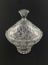 Crystal Dish Candy Lead Glass Vintage Lid Cut Covered Bowl Design Clear 24%