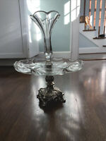 Vintage Antique Epergne Glass & Silver-Like Metal {Gorgeous!}