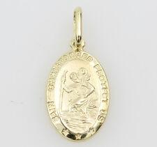14K Yellow Gold Religious St. Christopher Medal Pendant