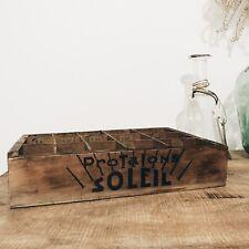Ancien présentoir en bois, tiroir 15 casiers, 28x20 cm, Protalons Soleil