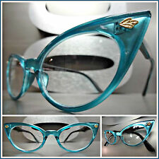 CLASSIC VINTAGE RETRO CAT EYE Style Clear Lens EYE GLASSES Teal Fashion Frame