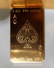 1 oz. 2016 Ace of Spades Copper Cracker .999 Copper Bullion Bar  Ingot Free Ship