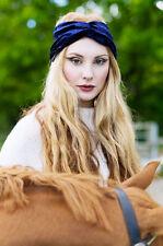Free People Navy Blue Velvet Wide Turban Headband Headwrap Head Band Wrap NEW