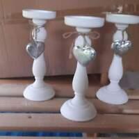 3 mal weiße Kerzenständer aus Holz, NEU!