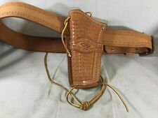 Vtg Leather Holster W/belt Handcrafted By Smith Leather Left Handed