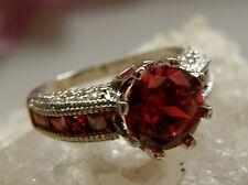 Ring 925° Silber Solitär rote und weiße Zirkonias sehr edel Gr.54 um1990 R391