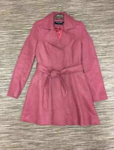 Covent Garden Women's Single Breasted Belted Wool Blend Coat Burgundy Size 10