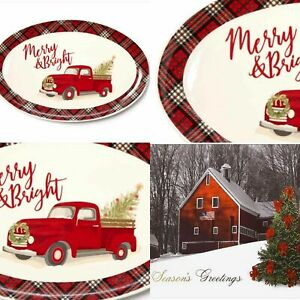 "Red Pickup Truck Christmas Serving Platter Kitchen Farmhouse  Plaid Trim 15""x10"""