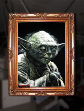 BLACK VELVET PAINTING of YODA by Professional Mexican Velvet Elvis artist JORGE