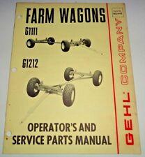 Gehl G1111 G1212 Farm Wagon Running Gear Operators Owners Parts Manual Catalog
