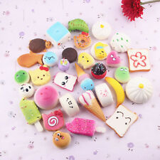 10pcs Squishy Charms Kawaii Soft Foods Squishies Cake Phone Straps Charm Toys AU