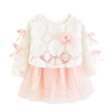 NUEVO niña 2 piezas manga larga vestido de fiesta rosa BURDEOS