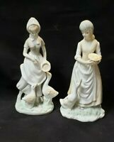"""Set of Two PORCELAIN FIGURINES GIRL FEEDING GEESE/DUCKS 8"""" Tall"""