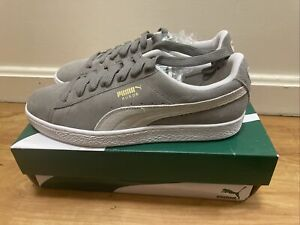 New PUMA SUEDE CLASSIC + Plus Sneakers Steeple Gray white Size 9.5 352634-66